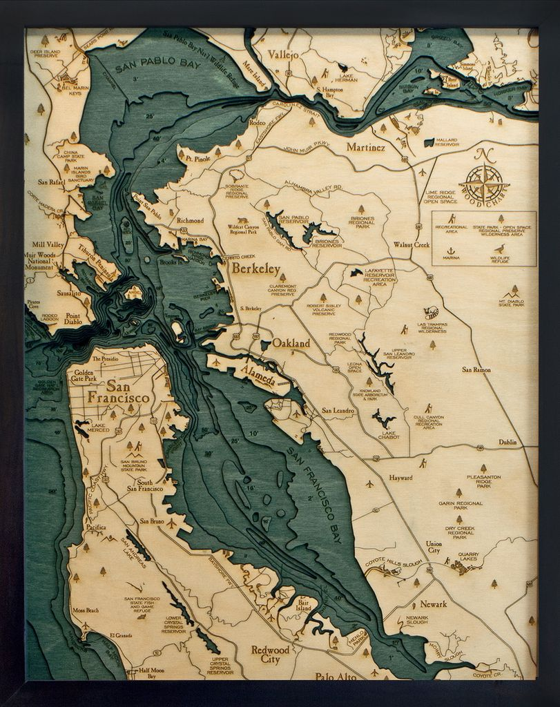 Rare Earth Gallery San Francisco / Bay Area (Sm, Bathymetric 3-D Wood Carved Nautical Chart)