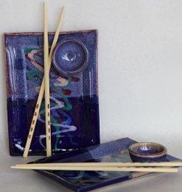 Rare Earth Gallery Sushi Tray (w/Bowl, Chopsticks, Assorted Glazes)