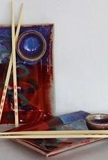 Rare Earth Gallery Sushi Tray w/Bowl & Chopsticks (Assorted Glazes)