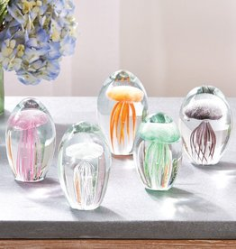 Rare Earth Gallery Paperweight, Jellyfish (Sm, Fossilized, Hand-Blown Glass)
