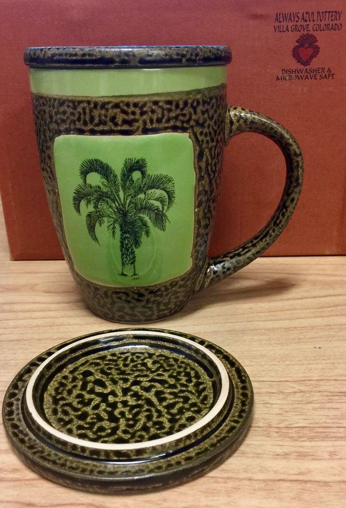 Rare Earth Gallery Palm Tree Mug w/Lid