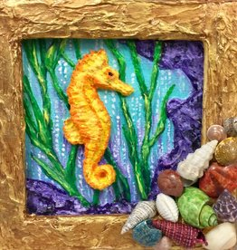 "Carol Merritt Sea Horses (Original Acrylic, Signed, Approx 4""SQ)"