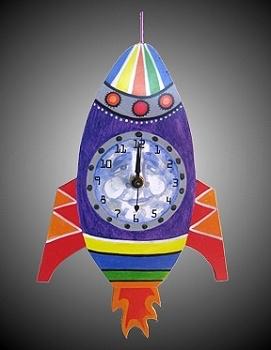 Rare Earth Gallery MOON ROCKET (Pendulum Clock)