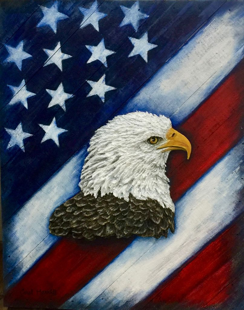 "Carol Merritt Proudly We Stand (Original Acrylic on Board, Signed, 12""Wx15L"")"
