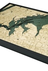 Rare Earth Gallery West Long Island Sound, NY (Bathymetric 3-D Wood Carved Nautical Chart)