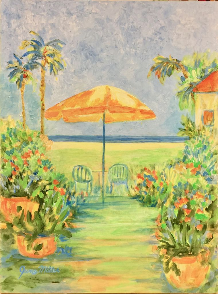 "Jane Miller Palm Beach Way (Original Acrylic, Signed, 18""x24"")"