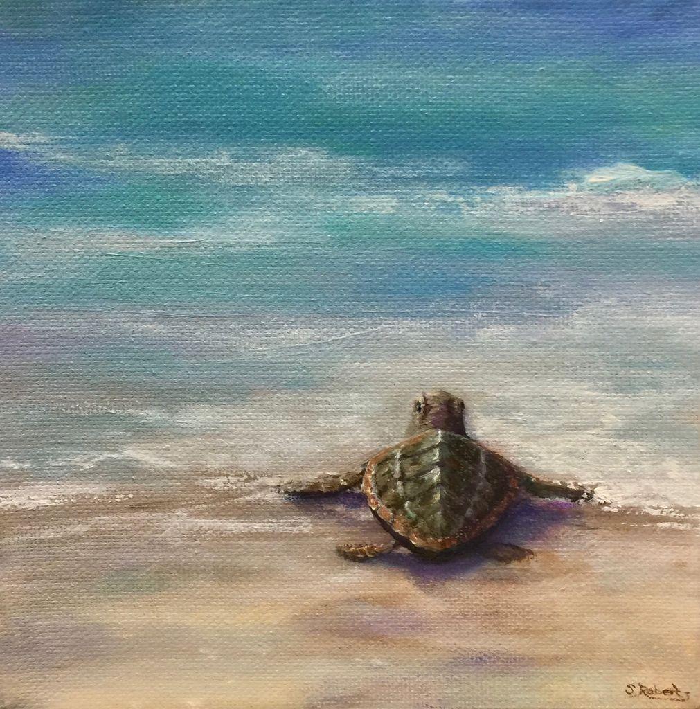 Susan Roberts Tide Traveller (Original Oil, Gallery Wrap, 6x6)