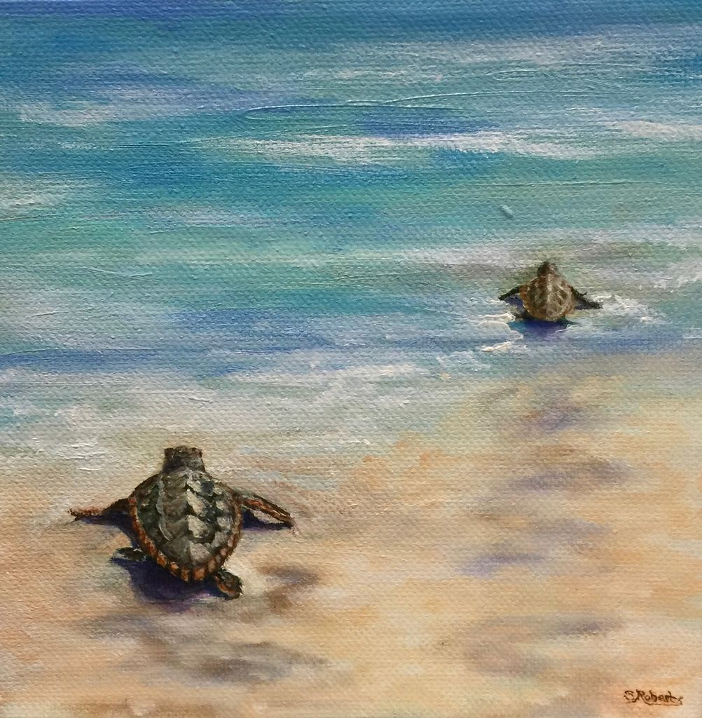 Susan Roberts Tide Travellers (Original Oil, Gallery Wrap, 6x6)