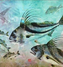 Ken Dara Rooster Fish (Gyotaku Giclee, 22x30, Mat, Frame, Signed)