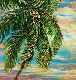 Carol Merritt Coconut Palm at Sunrise (Original, Signed, Approx 16x40)