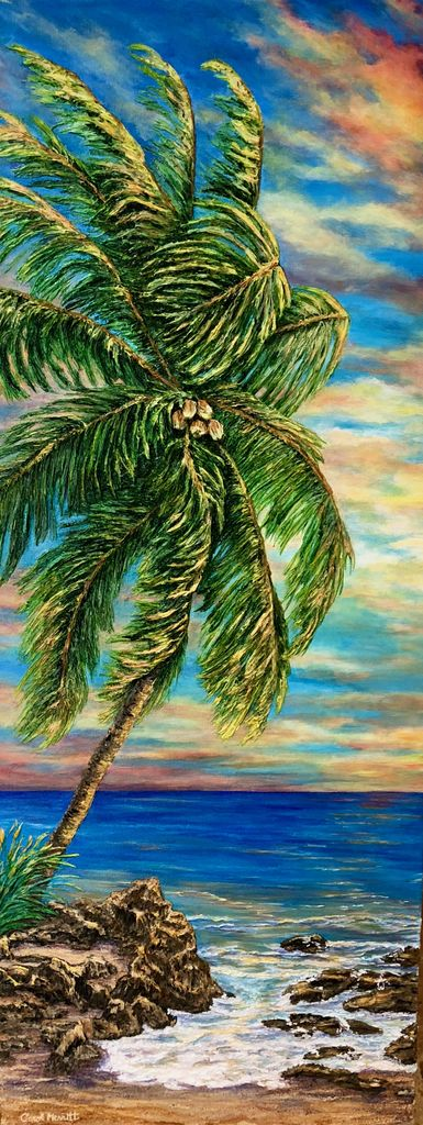 Carol Merritt Coconut Palm at Sunrise (Original, Signed, Approx 16x40)