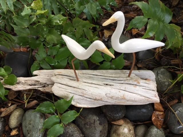 Egret (Log, White, Yellow-Beaked, 2, #1804)
