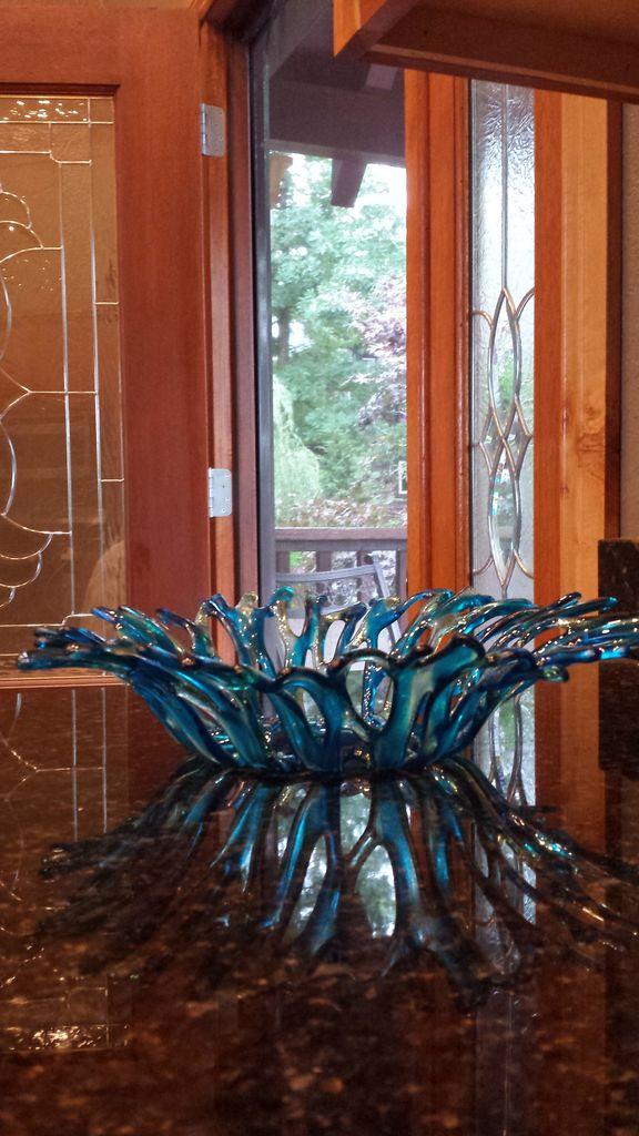 """Karen Hovis Coral Bowl (Turquoise & Aquamarine, 13""""D x 3""""H)"""
