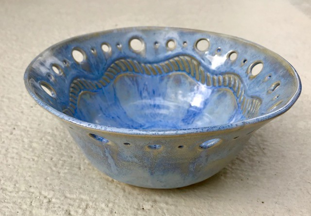 Karen Stern Bowl w/Blue Waves (#1803)