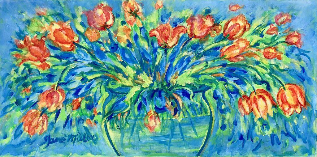 "Jane Miller Van Gogh's Tulips (Original Acrylic, Signed, 12""x24"")"