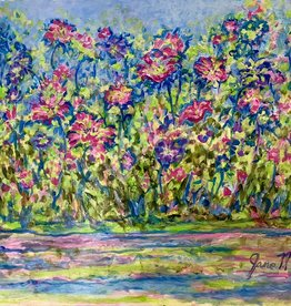 "Jane Miller Flowers on the Bank (Original Acrylic, Palette Knife, Signed, 24""x30"")"