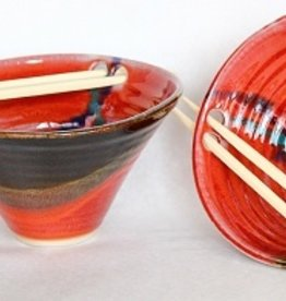 Rare Earth Gallery Rice Bowl (w/Chopsticks, Assorted Glazes)