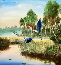 Cliff Potenza Herons in Flight (Original Oil, 20x24)