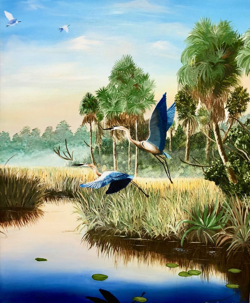 Cliff Potenza Herons in Flight (Original Oil, 20x24)
