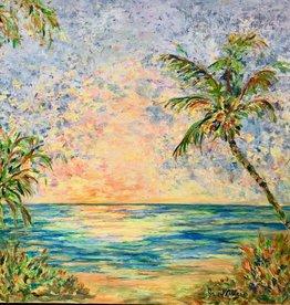 """Jane Miller Sunrise (Original Oil, Palette Knife, 36""""x36"""")"""