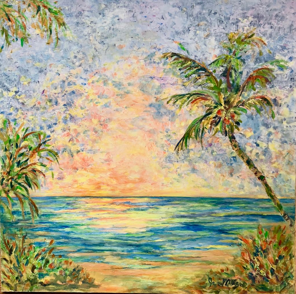 "Jane Miller Sunrise (Original Oil, Palette Knife, 36""x36"")"