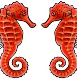 Rare Earth Gallery Earrings, Sea Horse, Red