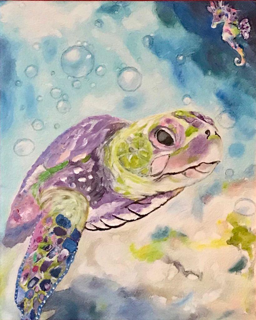 Donna Rydberg Sea Turtle (Original, Digital, Acrylic on Canvas, 20x16)