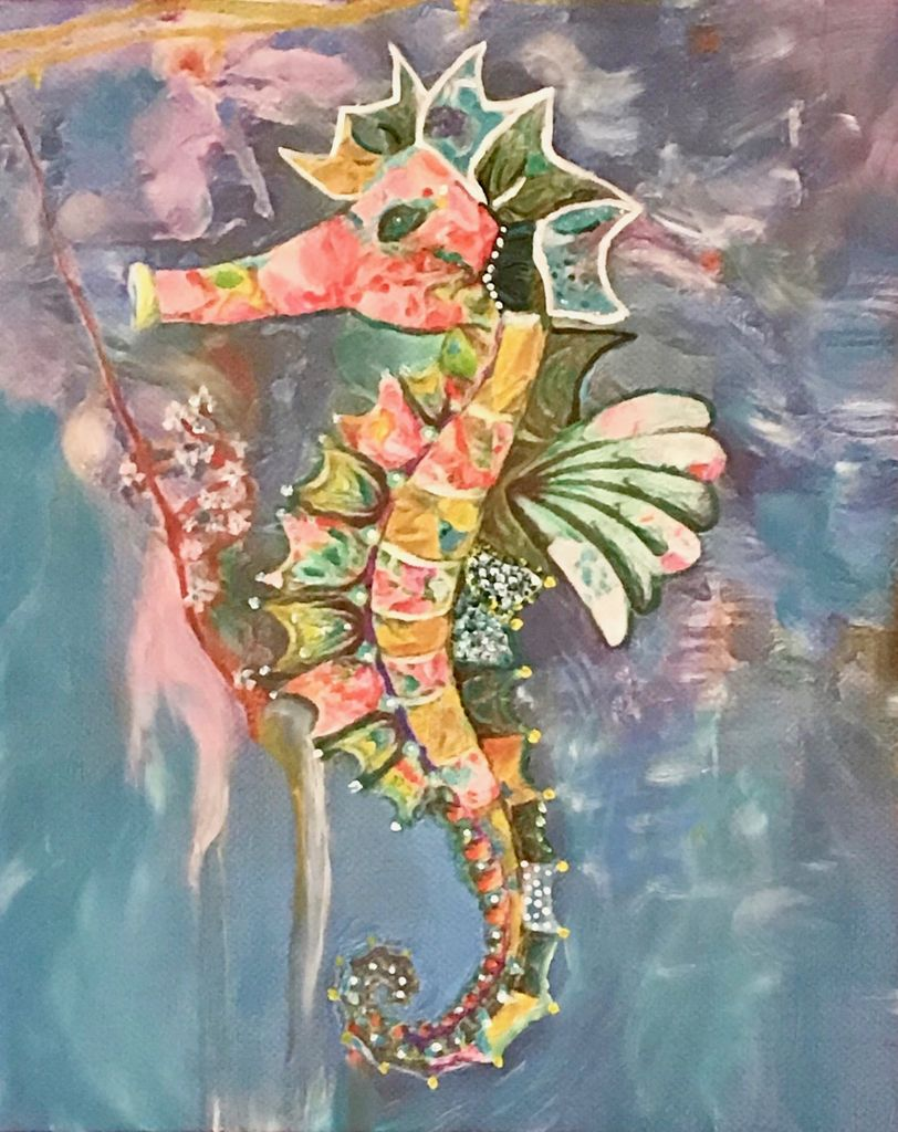 Donna Rydberg Sea Horse, Sammy (Original, Digital, Acrylic on Canvas, 20x16)