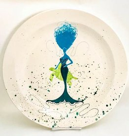 "Rare Earth Gallery Platter, BeBe Mermaid / Turtle (Aqua/Teal, XL, 16""D. x 2.5""H)"