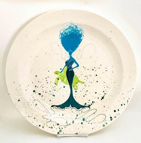 "Rare Earth Gallery Platter, BeBe Mermaid / Turtle (Aqua/Teal, XL, 16""D. x 2.5""H)"