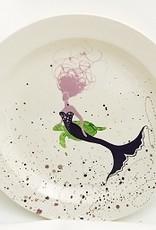 "Rare Earth Gallery Platter, BeBe Mermaid / Turtle (Lavender/Brown, XL, 16""D. x 2.5""H)"