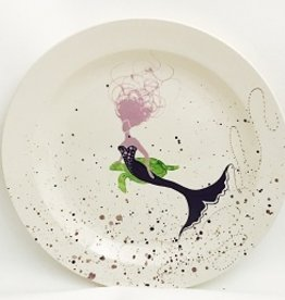 "Rare Earth Gallery Platter, BeBe Mermaid / Turtle (Lavender/Brown, XL, 16""D. x 2.5""H)"