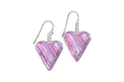 Rare Earth Gallery Earrings, Heart (Dichroic Art Glass, Red, Silver or Pink only, #210)