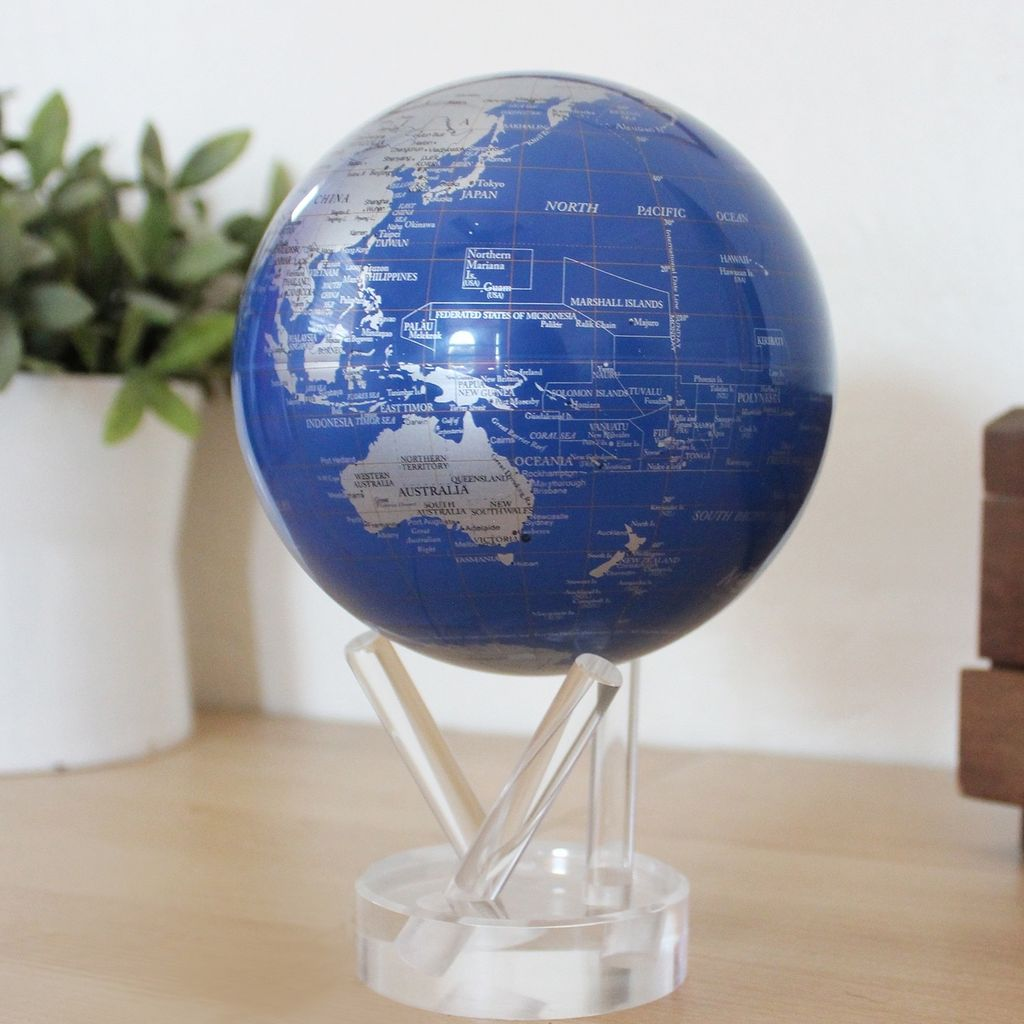 """Rare Earth Gallery Blue and Silver (MOVA GLOBE 4.5"""")"""