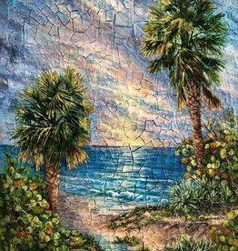 Rare Earth Gallery Ol' Florida (Original Acrylic w/Crackle Paste on Board, Signed)