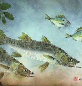 Ken Dara Indian River Snook (Gyotaku Giclee,  34x20, Framed, Signed)
