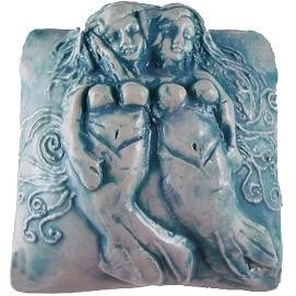 Rare Earth Gallery innerSpirit Rattle: Mermaid, Sisters (Square)