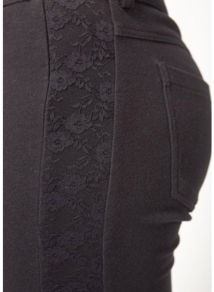 Tulle Tulle Black Lace and Cotton Legging