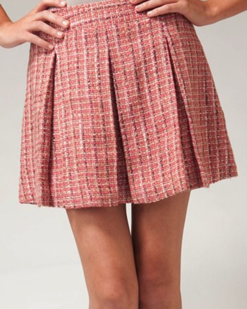 Tulle Tulle Pleated tweed skirt