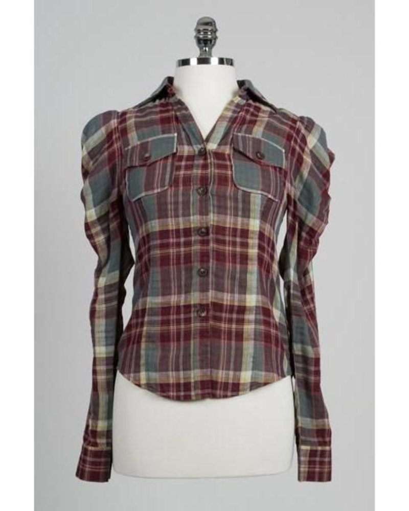 Hazel Hazel plaid button up with cut out