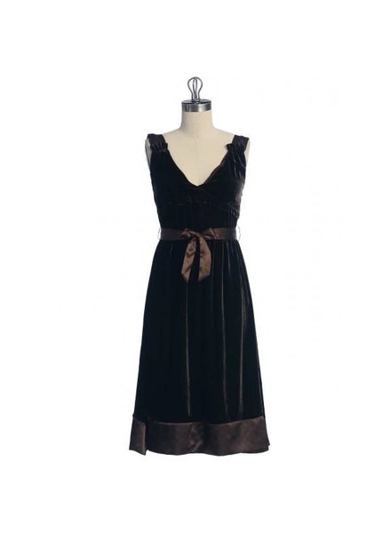 Hazel Hazel Velvet like dress with Tie