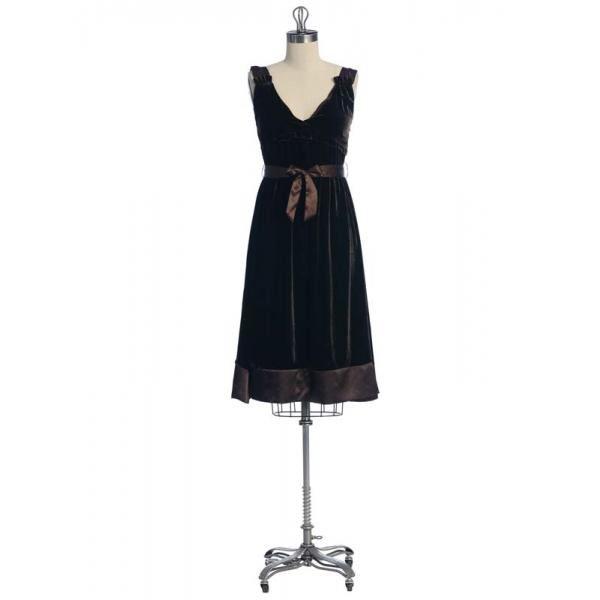Hazel Hazel Velvet like dress with Tie