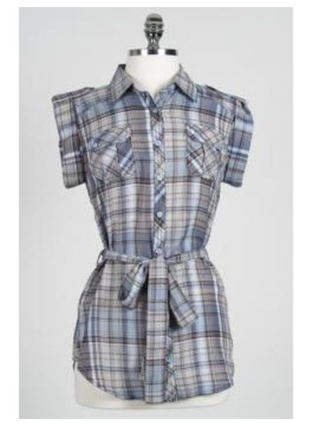 Hazel Hazel Button-up Plaid Shirt with Pockets