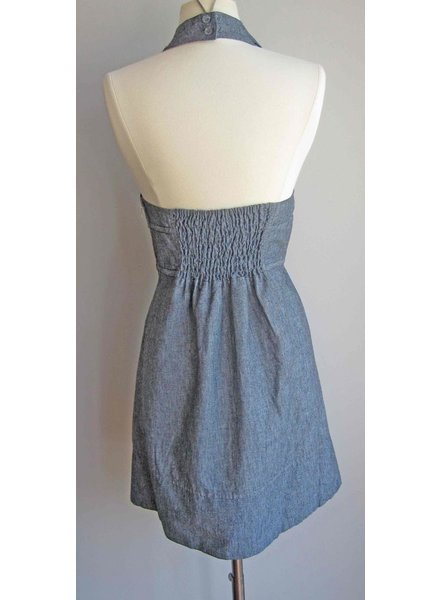 KLd Signature KLD Denim Halter Dress with Bow