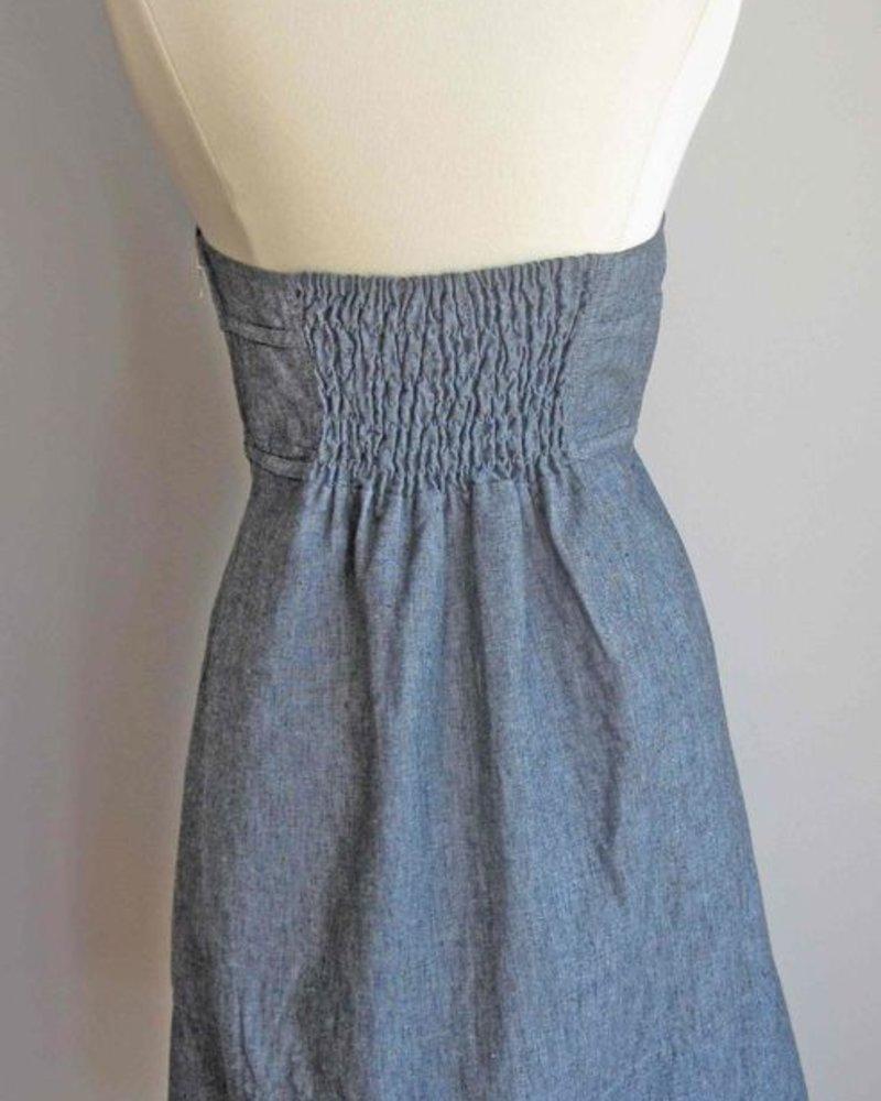 KLd Signature KLD Denim Halter Dress with Bow
