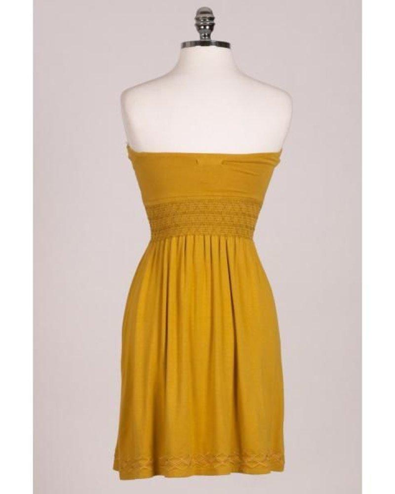 Hazel Hazel Smock Waist Strapless Dress
