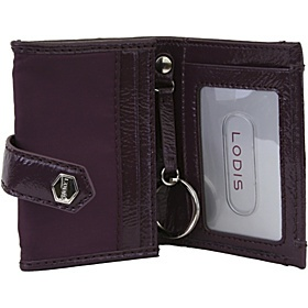 Lodis Lodis Pia Patent Nylon Petite Card Case with Keychain