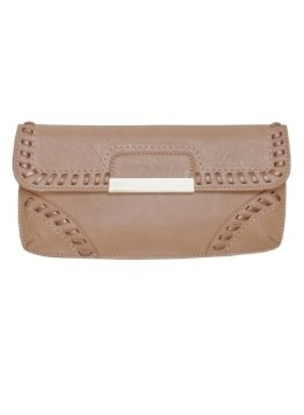 Melie Bianco Melie Bianco Tan Quinn Whip Stitched Clutch