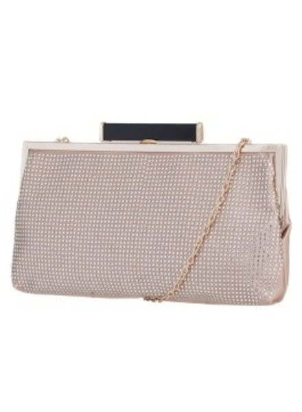Melie Bianco Melie Bianco Gold Jamie Studded All Over Clutch with Metal Frame