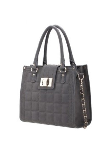 Melie Bianco Melie Bianco Gray Kate Quilted Chain Tote with Turn Lock Flap